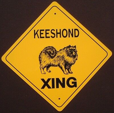 KEESHOND XING Aluminum Sign dogs art novelty picture signs decor home animals