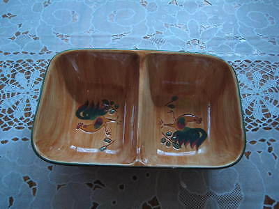 Pennsbury Pottery Red Rooster Divided Serving Bowl