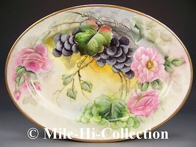 "LIMOGES FRANCE HAND PAINTED ROSES & GRAPES 14"" PLATTER TRAY"