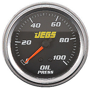 """JEGS Performance Products 41200 2-5/8"""" Mechanical Oil Pressure Gauge 0-100 psi"""