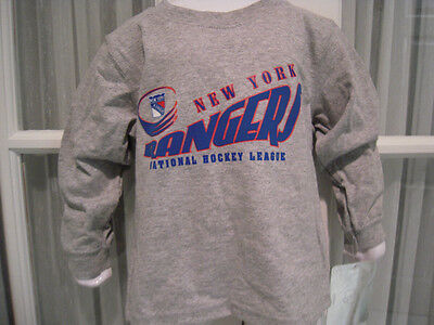 NWT New York Rangers Long Sleeve Gray Toddler Tee- Sizes 2T - 4T