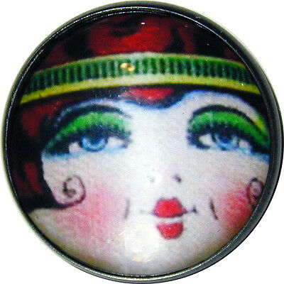"Crystal Dome Button Roaring 20s Flapper Girl - "" Ruby """