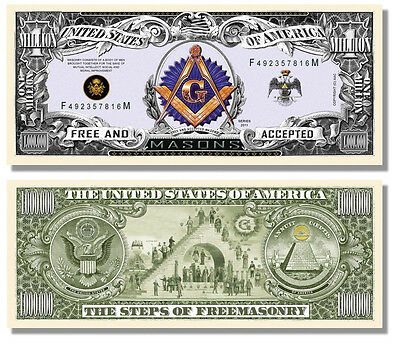 15 Factory Fresh Freemason Masonic Million Dollar Bills