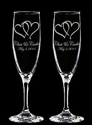 2 Personalized Laser Engraved Champagne Glasses/Flutes - TWIN HEARTS