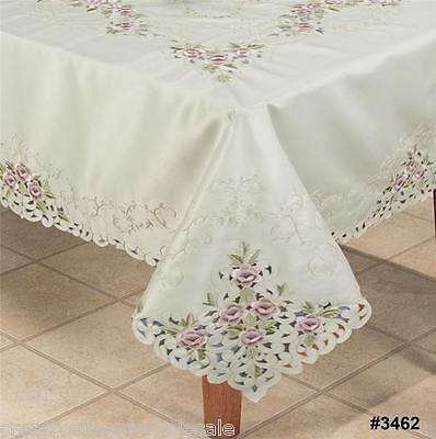"""Embroidered Purple Rose Floral Cutwork Tablecloth 70x120"""" & 12 Napkins  #3462"""