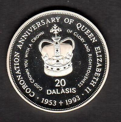 Z-142 GAMBIA 199320 DALASIS SILVER PROOF 40th ANNIV.  OF QUEENS CORONATION