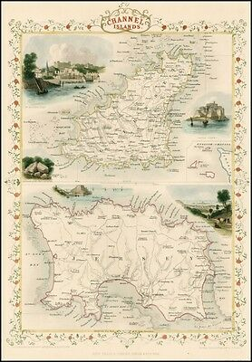 Reproduction Antique Map of the Channel Islands Guernsey & Jersey by John Tallis