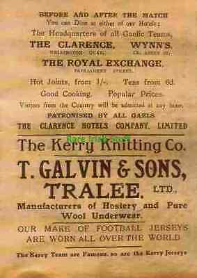 T Galvin,Kerry Knitting Company, Tralee, Ireland GAA Gaelic Sports Jersey Makers