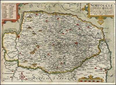 Reproduction Antique County Map Plan of Norfolk England Christopher Saxton NEW
