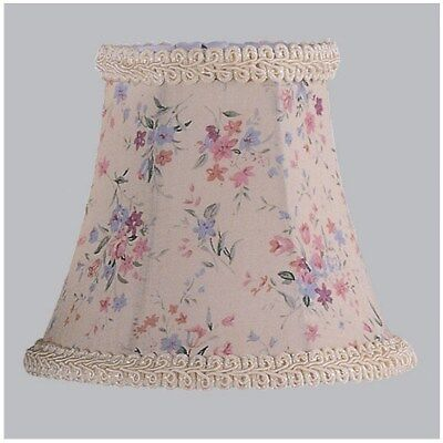 Livex 5 in. Wide Clip On Chandelier Shade, Cream Floral Print, White Fabric Lini