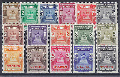 Costa Rica, MNH. c. 1935 Revenues w/ SPECIMEN Overprints, 16 in Issued Colors