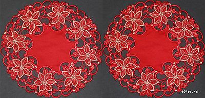 """2PCS 10"""" ROUND Christmas RED GOLD Embroidered Poinsettia Doily Placemats #3585"""