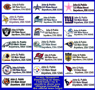 NFL address labels ANY TEAM  Bears, Cowboys, New York, Packers, Raiders...etc