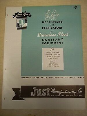 Vtg Just Manufacturing Co Brochure~Stainless Steel Sinks~Catalog~1946