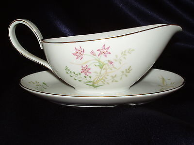 Hutschenreuther 8267 Favorit Gravy Boat W Attached Underplate Red Flowers Leaves