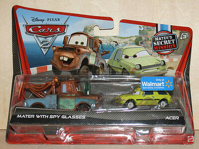 Disney Pixar Cars 2 Diecast Mater with Spy Glasses and Acer