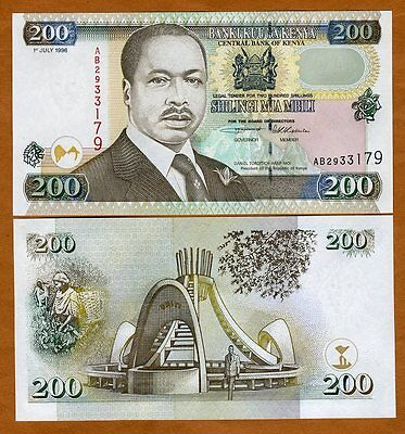 Kenya 200 shillings, 1996 P-38 (38a), UNC > Scarce First Date