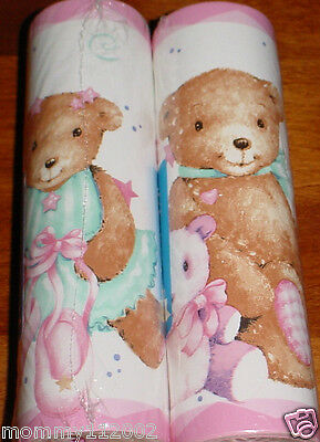 Kidsline Pirouette WALL BORDER wallpaper ballerina bears ballet bow pink white N