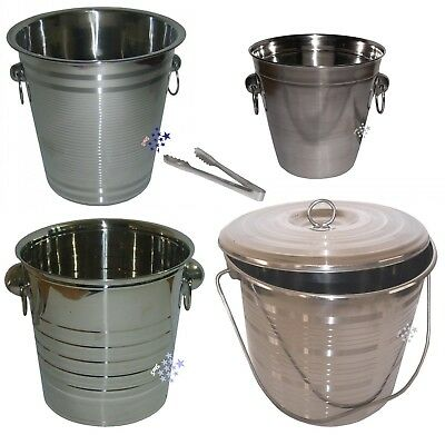 Champagne Ice Bucket Stainless Steel Wine Cooler Bucket + Free Ice Tong 5 Sizes