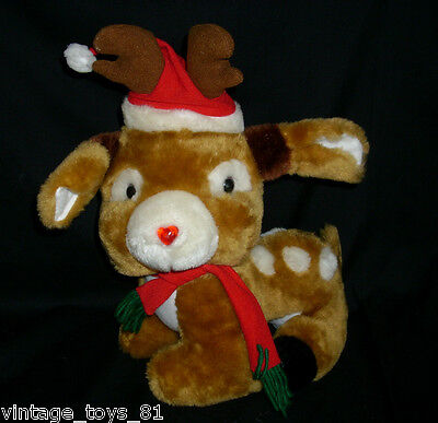 Vintage Christmas Stuffed Animal Plush Reindeer Electronic Musical Lights Up Htf