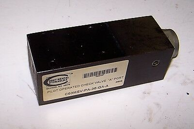 """Continental Hydraulics Check Valve """"A"""" Port # C03MSV-PA-30-GA-A, Used, WARRANTY"""