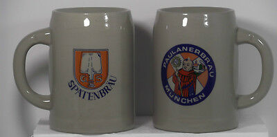 TWO MUGS: A PAULANERBRAU MUNCHEN-MONK ON FRONT & A SPATENBRAU BEER MUG WITH G/S
