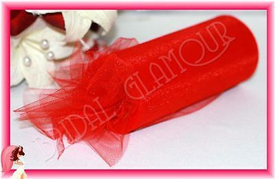 RED Soft Wedding Tulle Roll 15cm x 23m Bridal Fabric Material Chair Sash Pew Bow