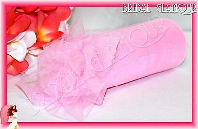 PINK Soft Wedding Tulle Roll 15cm x 23m - Bridal Material Chair Sash Pew Bow