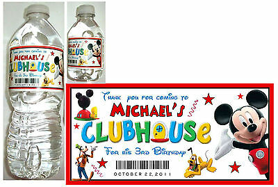 20 MICKEY MOUSE CLUBHOUSE Birthday Water Bottle Labels - Glossy