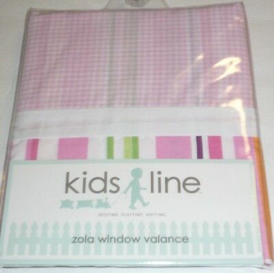 Kidsline Zola VALANCE pink green orange purple white stripes gingham check NEW