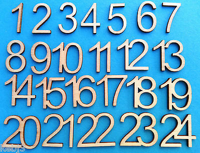 Wooden Numbers 1 - 24 ADVENT Calendar 2cm tall Laser cut Words also available