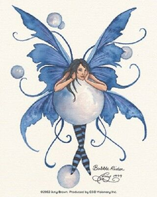 Amy Brown Sticker Decal Fairy Faery BUBBLE RIDER front facing blue wings sphere