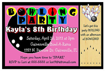 Bowling Birthday Party Invitations ~Pink Design