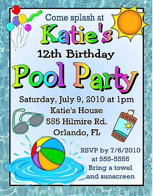 Pool Party Invitations Design