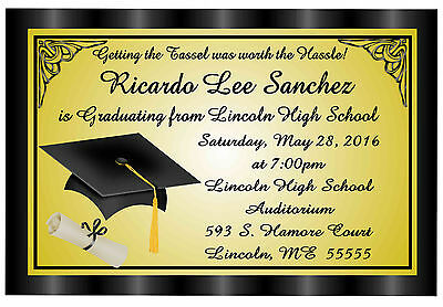 Black & Gold Graduation Announcements Invitations