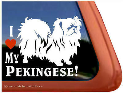 I LOVE MY PEKINGESE! High Quality Vinyl Dog Window Decal Sticker ~ Very Cute!