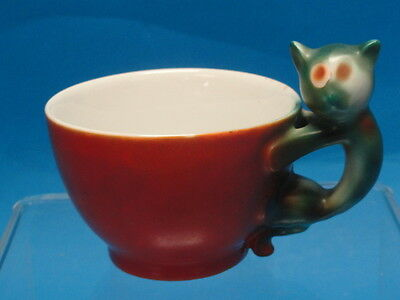 Beyer & Bock c.1920  Art Deco Cat Handle Cup & Dessert Plate * RARE * EXQUISITE