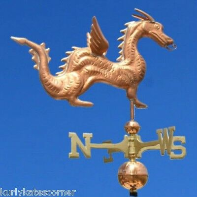Hot Dragon Weathervane W/copper Balls & Brass Directionals Made In The Usa #318
