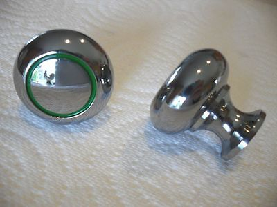 Art Deco Hvy Chrome KNOBS Cabinet Door Drawer Pulls Leaf GREEN lines Circles