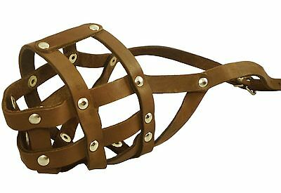 "Genuine Leather Dog Muzzle 12""-3.5"" snout size Amstaff Black Brown"