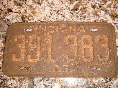 1945 Indiana License Plate 391 383