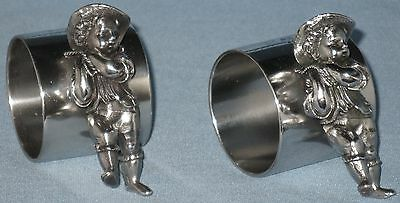 """Antique Collectible Sp Novelty Napkin Holders Figural Etched """"Papa Mama"""" Pair"""