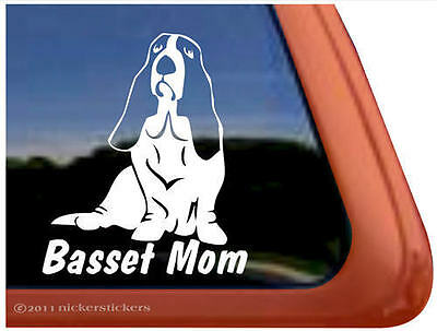 BASSET MOM ~ High Quality Vinyl Basset Hound Dog Window Decal Sticker
