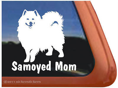 SAMOYED MOM ~ High Quality Vinyl Dog Auto Window Sticker Decal