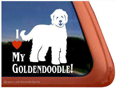 I LOVE MY GOLDENDOODLE ~ High Quality Vinyl Dog Window Decal Sticker