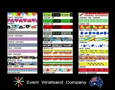 100 x Mixed Colour Tyvek,  party, security, wristbands