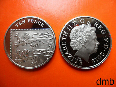 2012: Royal Coat of Arms PROOF 10p Coin: 10 Pence