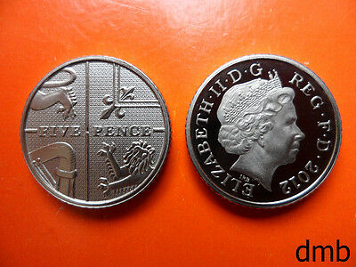 2012: Royal Coat of Arms PROOF 5p Coin: 5 Pence