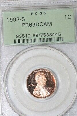 Brilliant 1993-S Lincoln Memorial Small Cent In A PCGS Slab - Deep Cameo PR69