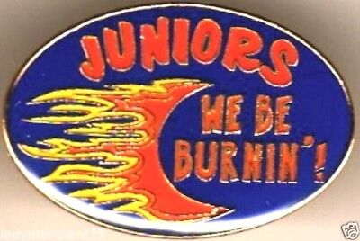 """JUNIORS WE BE BURNIN'!"" Flaming Enamel Lapel Pins, Lot of 25! ALL NEW!"
